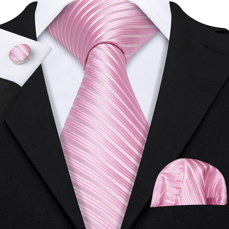 Men Tie Set Pink Striped Silk Tie For Men Wedding Tie Party Necktie Handkerchief Cravat Barry.Wang Fashion Desinger Tie LS-5200