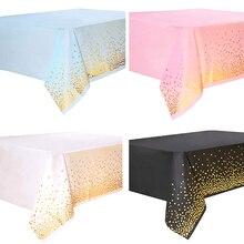 108*54 pollici tovaglia usa e getta punto rosa PVC copertura della tavola antiolio per Baby Shower matrimonio compleanno tovaglia decorazione