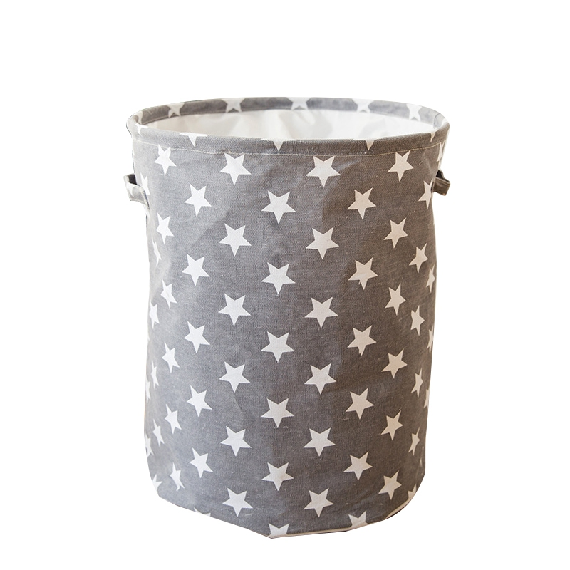 35x45CM Collapsible Laundry Basket Star Pattern Storage Basket Large Waterproof Linen Cloth Home Toy Clothes Storage Organizer