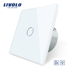 цена на Free Shipping, Livolo EU Standard Switch, VL-C701DR-11, White Crystal Glass Panel, AC 110~250V Remote& Dimmer Wall Light Switch