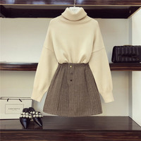 2019 Fall Winter New Lazy Wind Turtleneck Oversize Knitted Sweater and High Waist Patchwork Lattice Skirt 2 Piece Sets Women