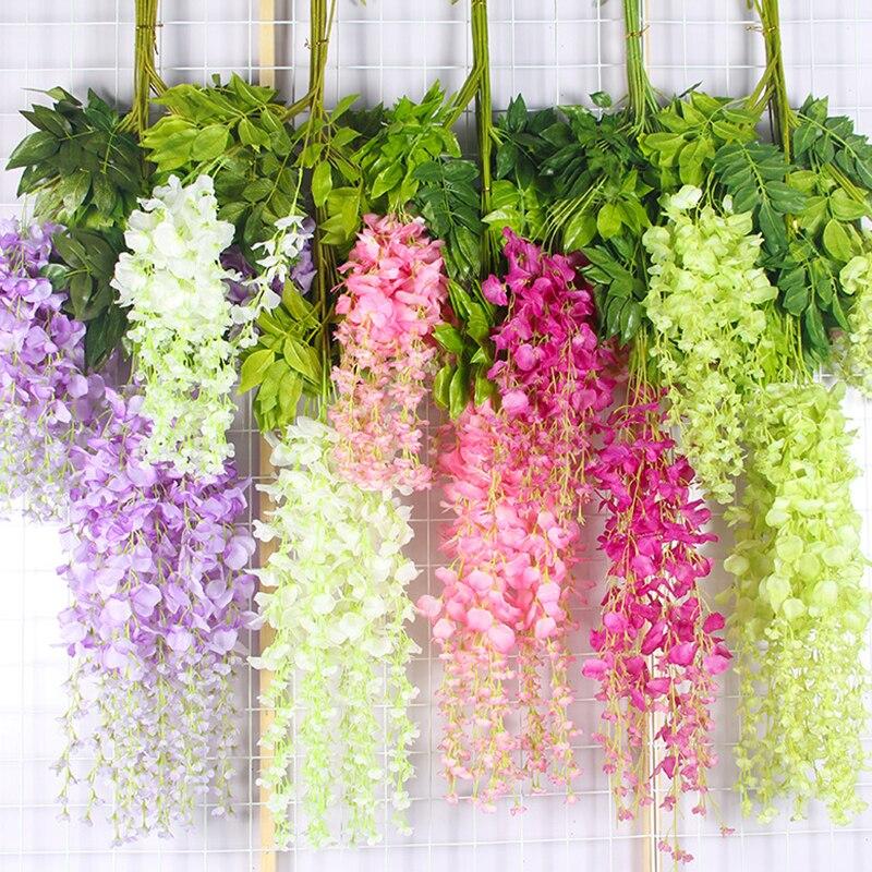 Свадебное украшение, искусственный цветок, Глициния, цветок, лоза, висячий венок «сделай сам», украшение для семейного сада и офиса, 12 шт./пар...