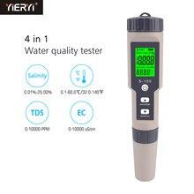 Yieryi S-100 Salinometer 4 in 1 TDS/EC/tuzluluk/Tem ölçer dijital su kalitesi monitör test cihazı havuz SPA tuzluluk test cihazı