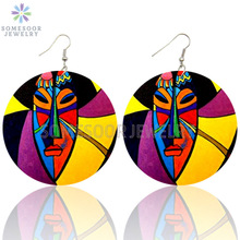 Drop-Earrings Jewelry Wooden Ethnic Afro Black Queen Bohemian African Loops Printed Women