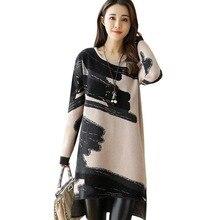 Fashion Winter Women Long Sleeve O Neck Irregular Dress Printed Loose Casual Dress women Plus Size Dresses Vestido