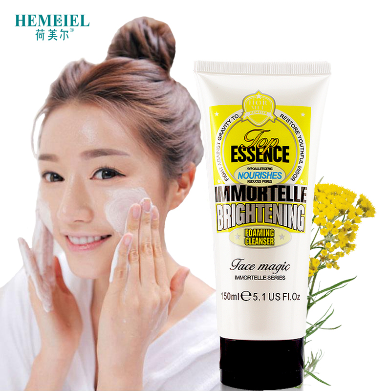HEMEIEL Immortelle Essence Foaming Facial Cleanser Brighten Whitening Face Wash Skin Care Moisturizing Romove Pores Anti Acne