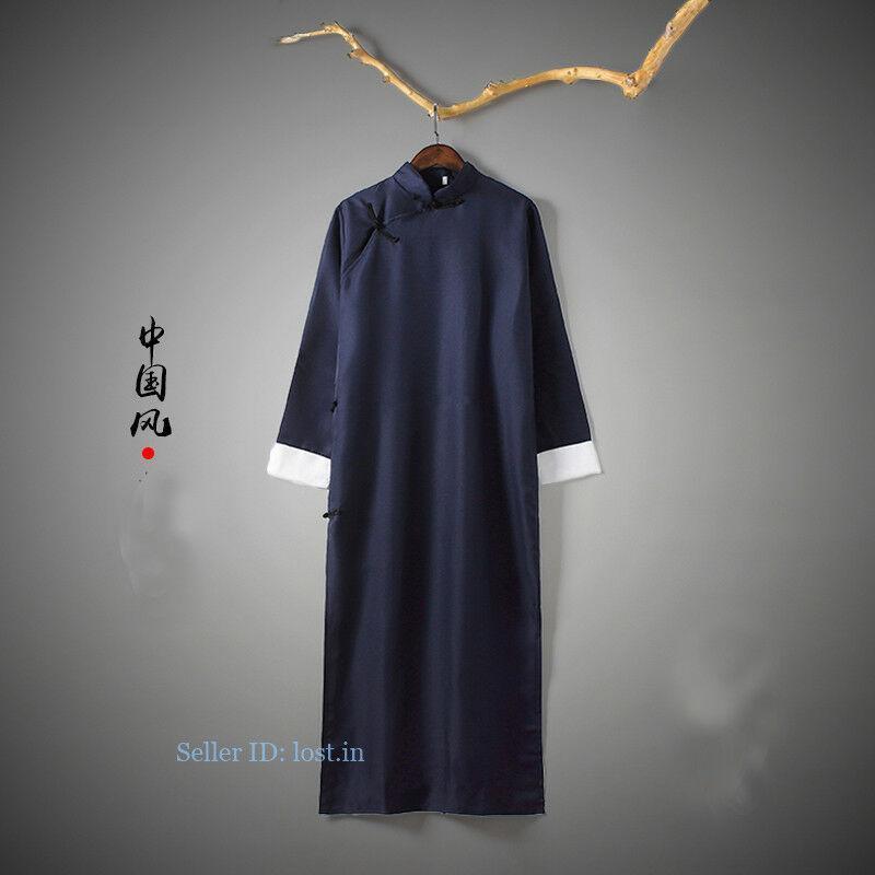 Men Chinese Traditional Tang Suit Robe Kung Fu Tai Chi Coat Long Uniform Vintage