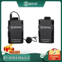 Boya BY-WM4/WM4 Mark II Wireless Studio Condenser Microphone System Lavalier Lapel Interview Mic for iPhone Canon Nikon Cameras boya by m1 m1dm by mm1 dual omni directional lavalier microphone short gun video mic for canon nikon iphone smartphones camera