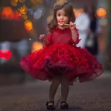 Красивые Красные Платья с цветочным принтом для девочек пышное