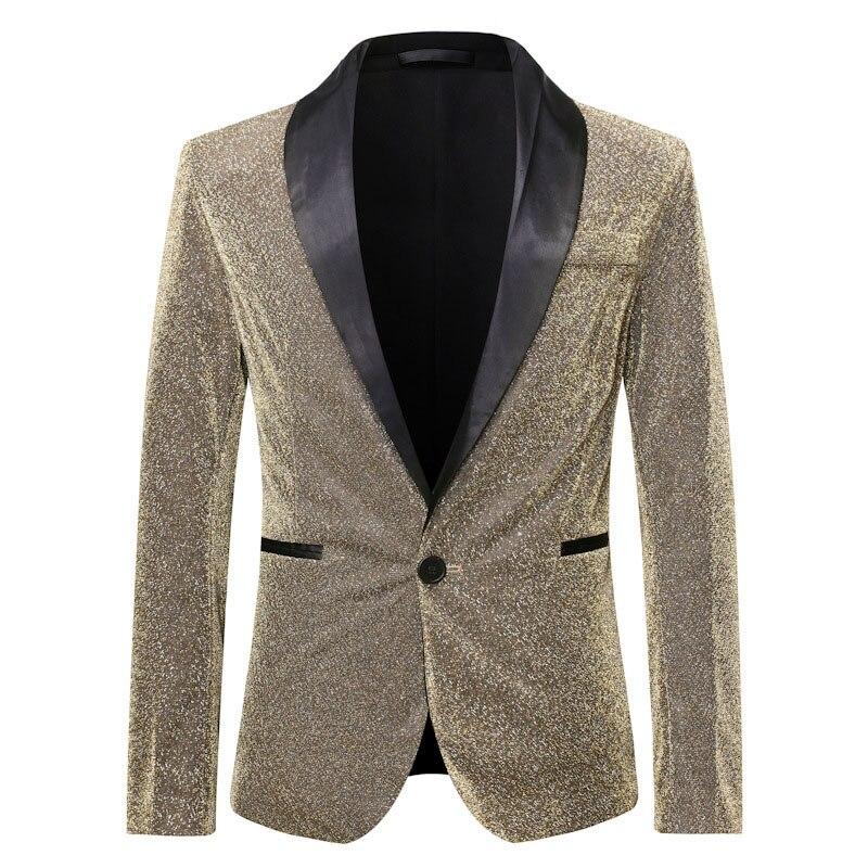 Блестящий Золотой блестящий мужской пиджак на одной пуговице, пиджак с отворотом, мужской пиджак для диджея, клуба, бара, выпускного, смокин