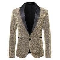 Shiny Gold Glitter Blazer Men One Button Shawl Lapel Suit Jacket Men DJ Club Bar Prom Tuxedo Blazer Stage Clothes for Singers