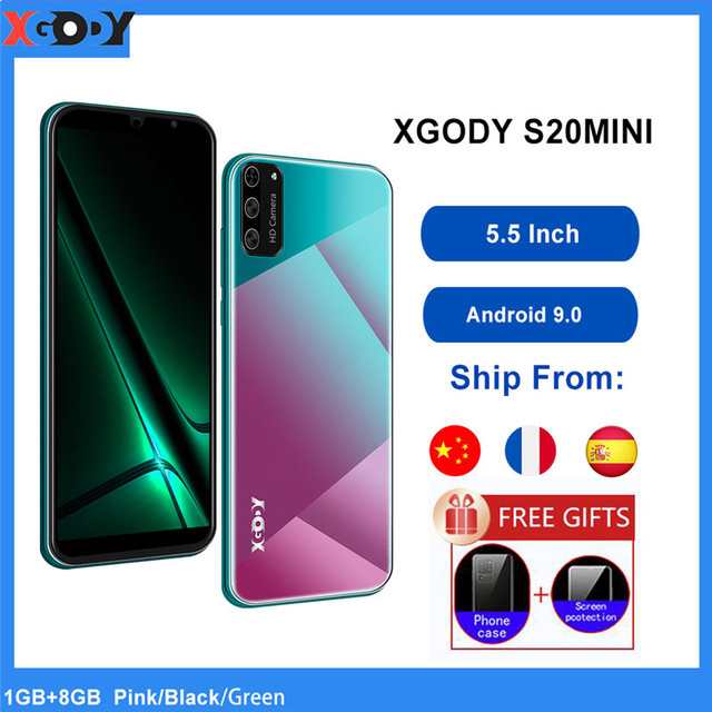 "XGODY Smartphone Android 9.0 5.5"" 18:9 Full Screen Dual SIM Mobile Phone 1GB 8GB Quad Core 5MP GPS WiFi 3G Cell Phones S20 Mini 1"