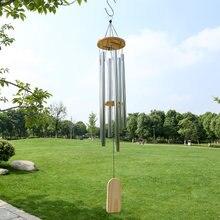 Carillón de viento de 6 tubos de plata, campanas de viento, adorno colgante en la pared, decoración para el hogar y el jardín al aire libre