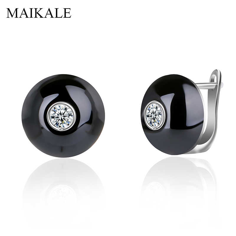 MAIKALE Simple Round Ceramic Stud Earrings Copper Plated Gold Silver Cubic Zirconia Classic Earrings For Women Send Friend Gifts