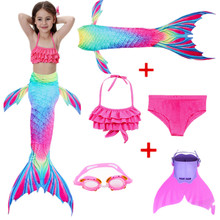 DMCOS 2019 6 pieces HOT Kids Girls Mermaid Tails with Fin Swimsuit Bikini Bathing Suit Dress for With Swiming TaiL