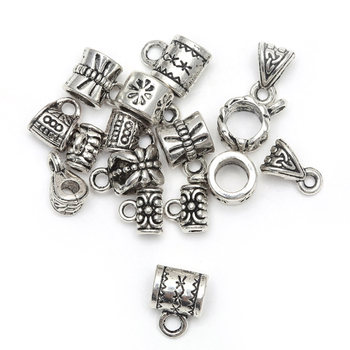 50pcs Antique Tibetan Silver Big Hole European Beads Slide Connector Charms For Jewelry Making Findings Wholesale Accessories handmade 925 silver om beads jewelry findings tibetan om mani padme hum words beads om mantra beads tibetan jewelry beads