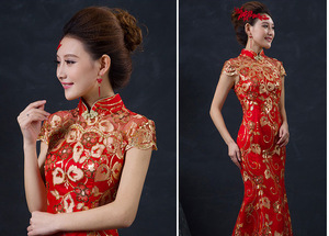 Image 2 - Red Chinese Wedding Dress Female Long Short Sleeve Cheongsam Gold Slim Chinese Traditional Dress Women Qipao for Wedding Party