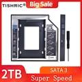TISHRIC 2nd HDD Caddy 9,5mm/12,7mm SATA 3,0 Корпус жесткого диска 2,5 ''SSD чехол Optibay адаптер для ноутбука CD DVD-ROM