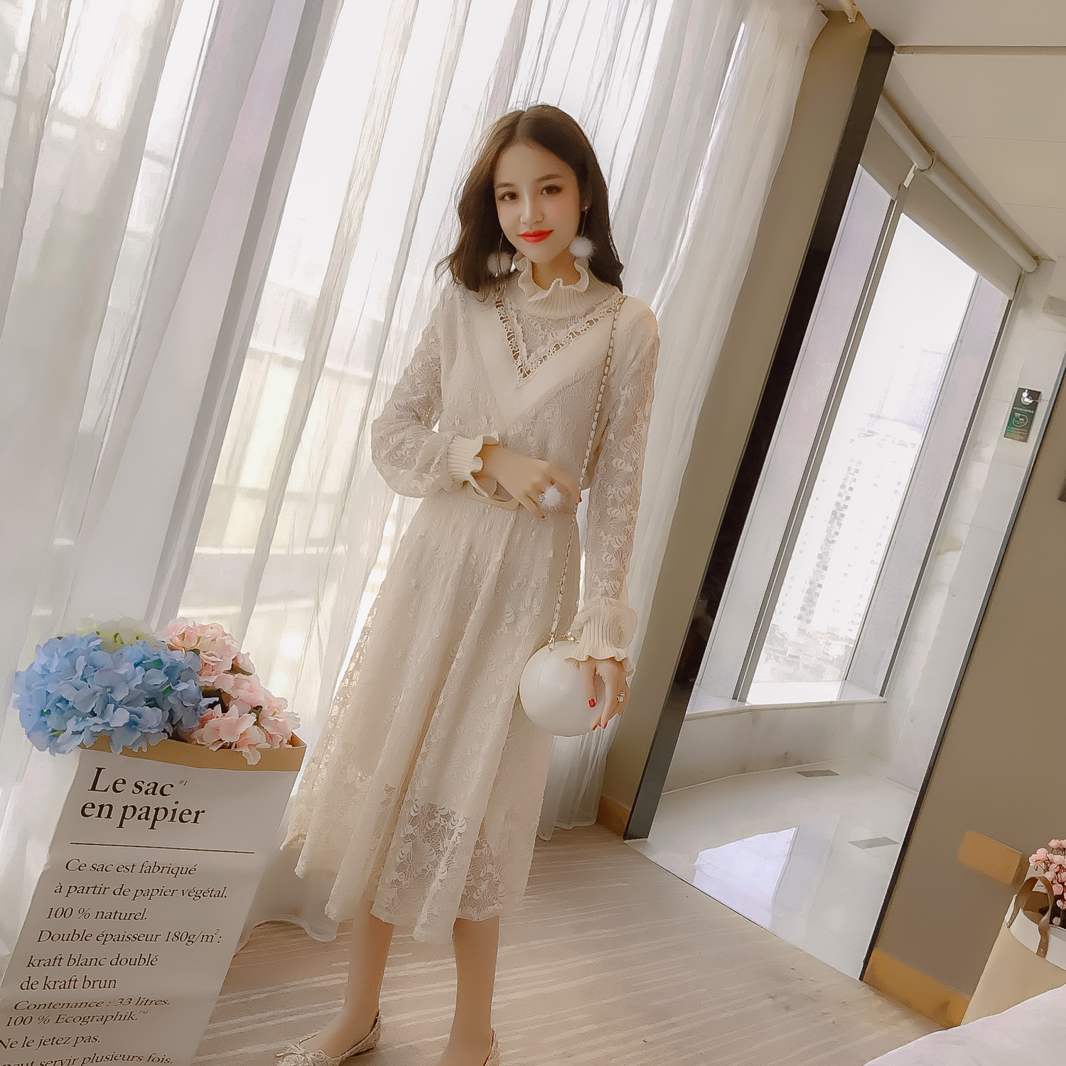 Mid-length Lace Dress Women's 2019 Autumn And Winter New Style Korean-style Half-Turtle-Neck Frilled Joint Long Sleeve Base Skir