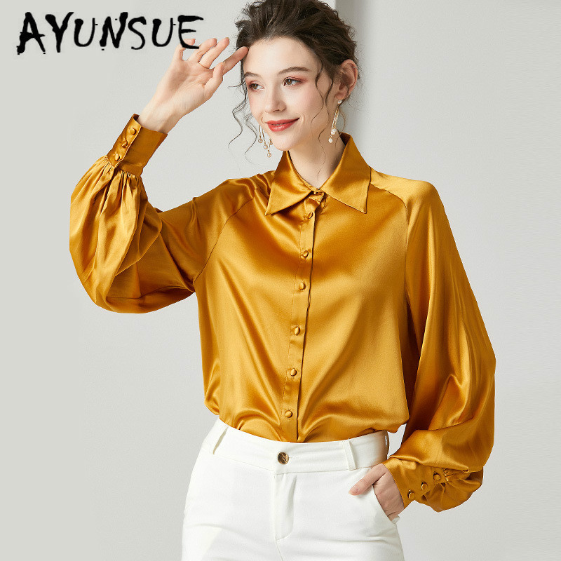 Real Silk Shirt Womens Tops And Blouses Long Sleeve Blouse Spring Autumn Vintage Blusas Mujer De Moda 2020 924132 YY2580