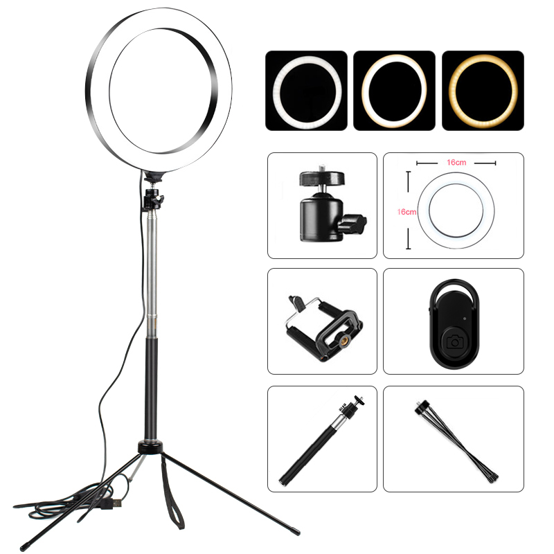 LED Selfie Ring Light Studio Photography Photo Lights Fill Light Tripod For Mobile Phone Live Makeup VIPlink For AG 3