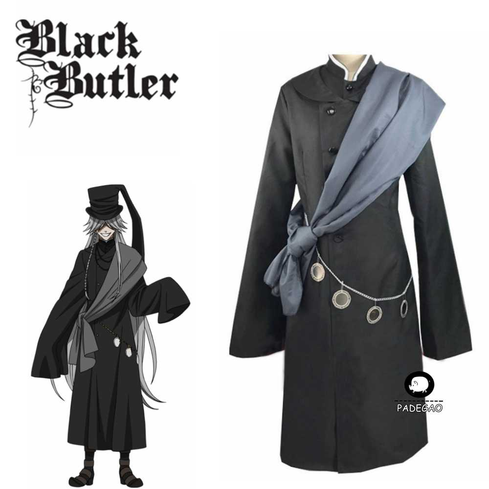 Black Butler Kuroshitsuji Undertaker Cosplay Halloween Party Kostuum Custom Made Volledige Set Hoed En Ketting