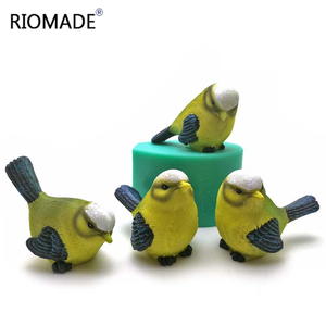3D Simulation Cuckoo Silicone Mold Bird Shape Cake Decoration Tools Sparrow Sculpture Chocolate Candle Molds Birds Mould(China)