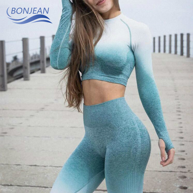 Women Yoga Set Ombre Seamless Leggings Gym Pants Sport Bra Fitness Long Sleeve Crop Top Workout Clothes Suit Running Sportswear