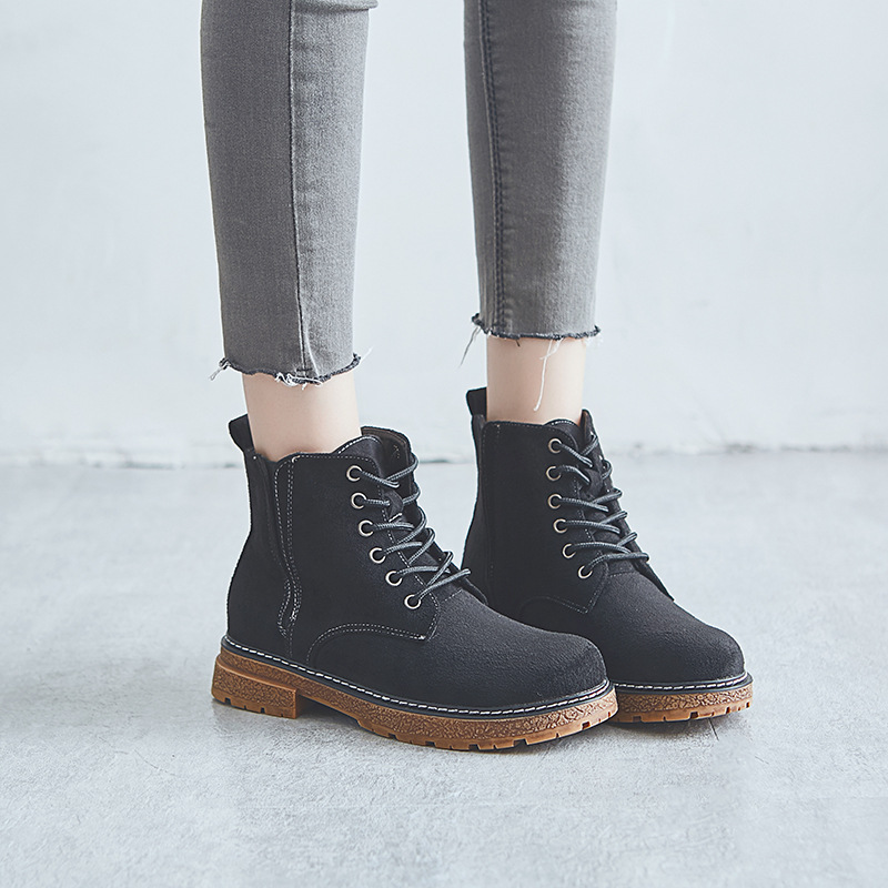 Ankle Round Toe Med  Women  Boots Fashion Solid Punk Motorcycle Boots  Casual Lace Up Shoes