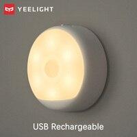 Yeelight sensor de movimento noite lâmpadas usb recarregável nightlight led luz amarela quente infravermelho magnético com ganchos movimento detectar