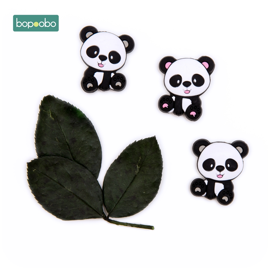 Bopoobo 20pc Baby Teething Food Grade Silicone Panda Bead Baby Teether Bpa Free Infant Goods For DIY Nursing Pendant Rodent Bead