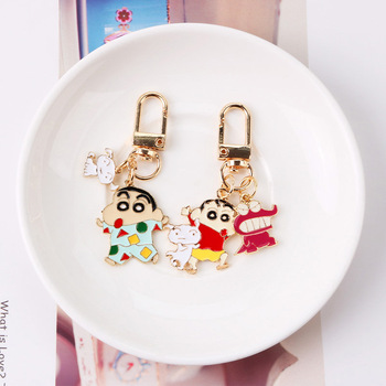 New Cute Crayon Shinchan Keychain Cartoon Anime Metal Childhood Car Key Chain For Women Kids Trinkets Jewelry Gift - discount item  42% OFF Fashion Jewelry