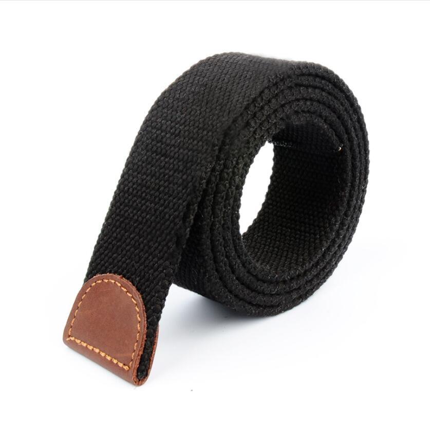 GAOKE Men Women Canvas Belt Without Buckle Thicken Luxury Waistband Jeans Belt Black Weave Stripe Belts 3.8cm Wide Strap Male