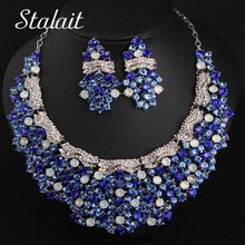 Christmas Rhinestone Wedding Christmas Jewelry Sets Women Silver Color Alloy Necklace Earrings Sets Bijoux Dress Accessories mecresh simulated pearl bridal jewelry sets silver color rhinestone party wedding necklace earrings sets christmas gift mtl469