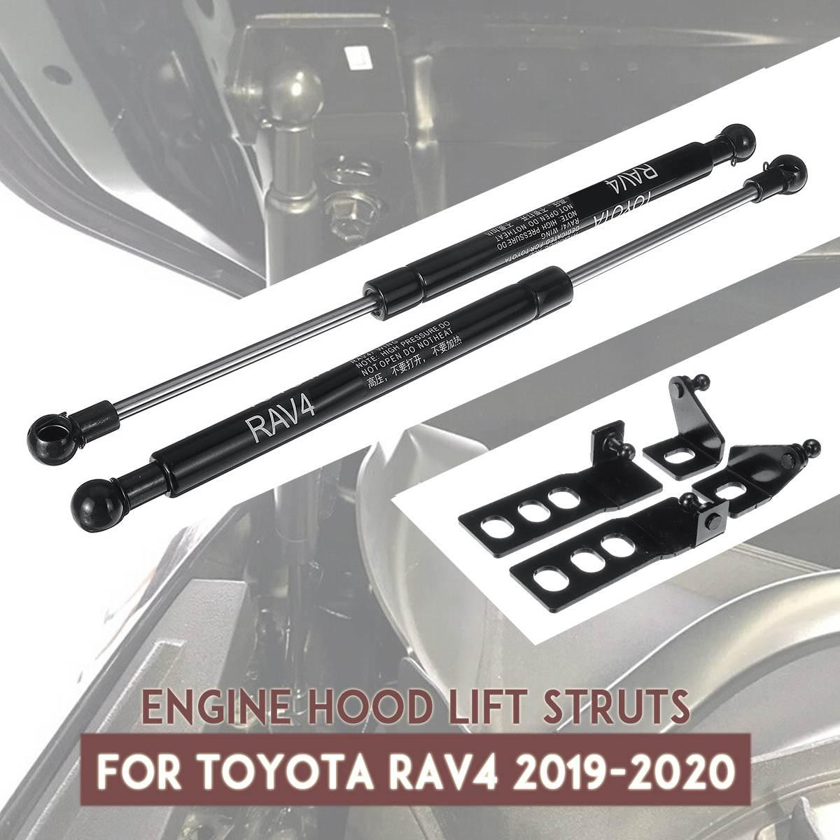 Otomobiller ve Motosikletler'ten Dikme Çubuklar'de 2 adet oto araba ön motor kaput gaz çubuklar damperi kaput kaldırma desteği için Toyota RAV4 2019 2020 title=