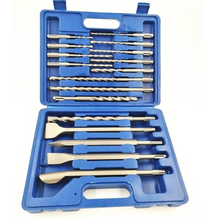 17pcs SDS Plus Rotary Hammer Drill Bits Chisel Concrete Masonry Hole Tool Set