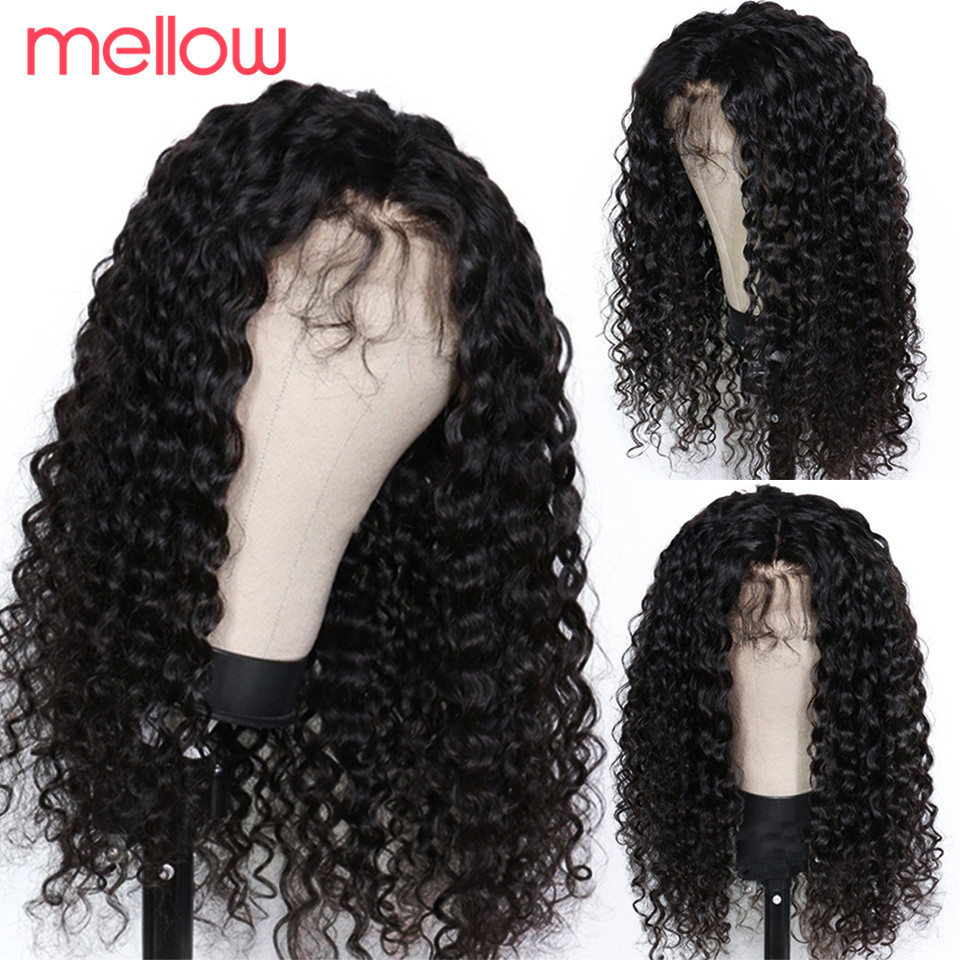 Mellow Deep Wave Wig Lace Front Wig Brazilian Deep Curly Lace Front Human Hair Wig 150 Density Remy Pre Plucked For Black Women