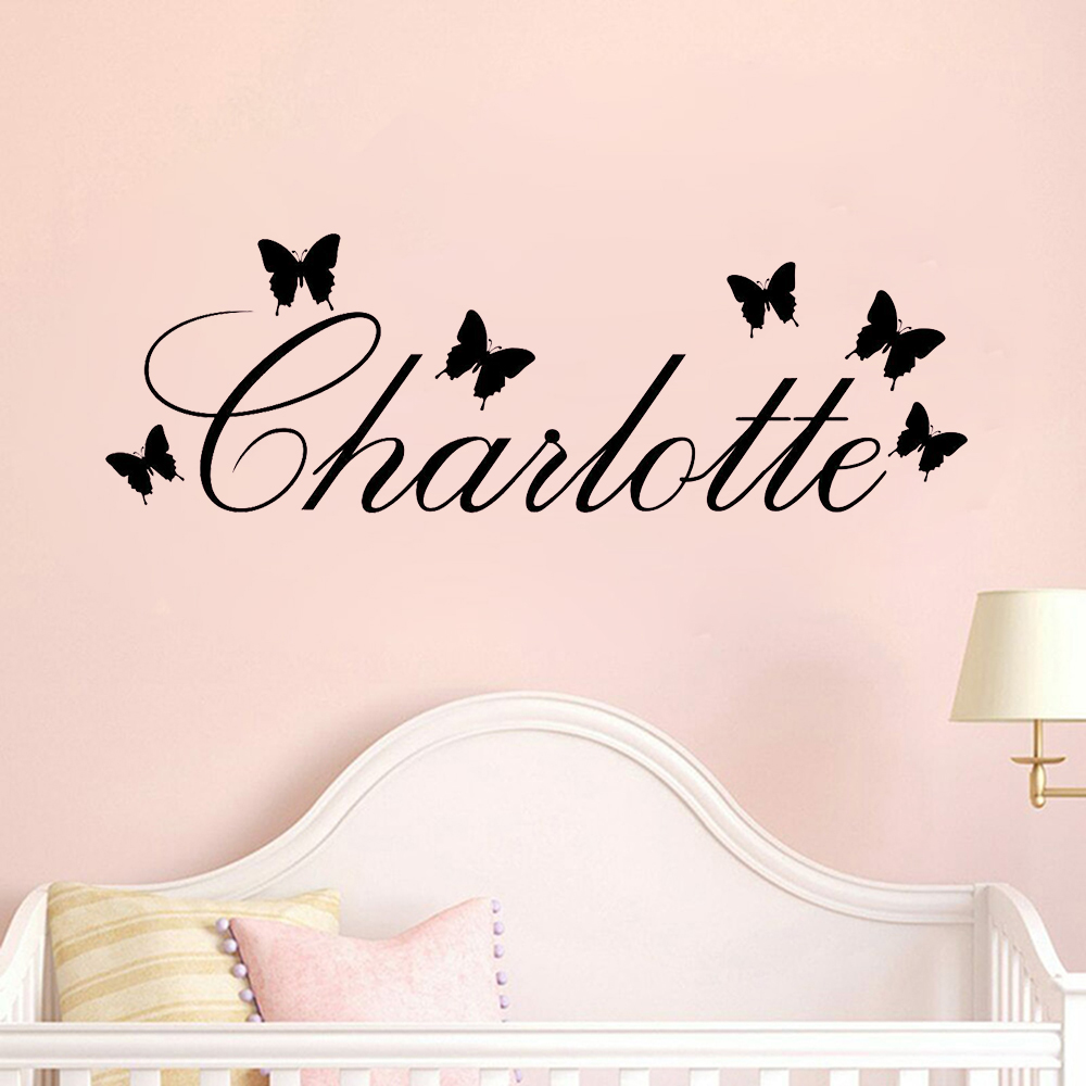 Personalised Butterfly Name Wall Sticker Butterfly Pattern Custom Name Wall Decal Vinyl Childs Bed Kids Room Decor Mural X067