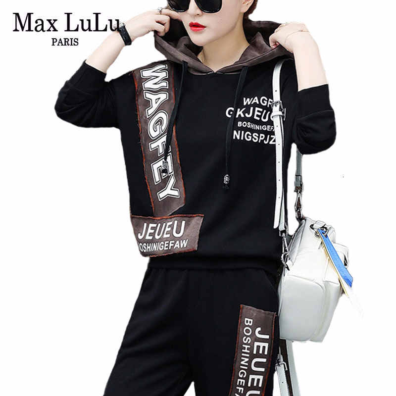 Max LuLu Korean Fashion Hoodies Luxury Tracksuits Ladies Printed Two Piece Sets Women Hooded Tops And Harem Pants Vintage Outfit