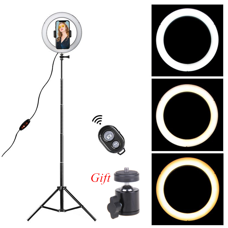 Ring-Light Tripod-Stand Cell-Phone-Holder Video-Studio-Kit Dimmable Led Youtube Photo