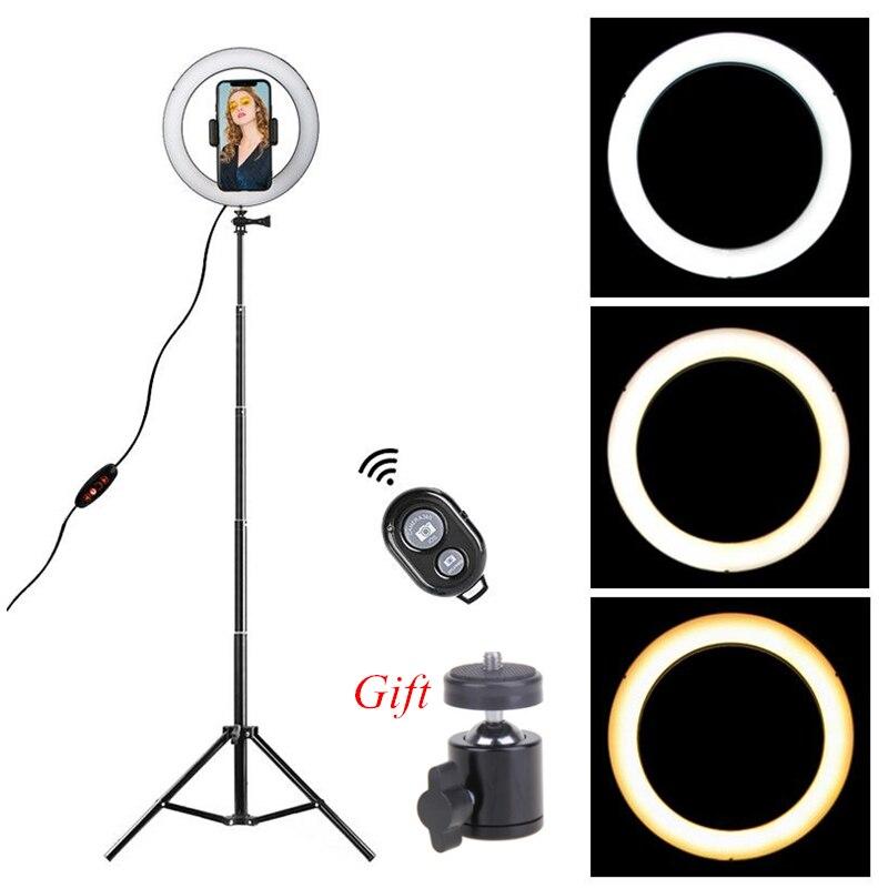 Pode ser escurecido led anel de luz 8.6 polegada câmera ringlight tripé suporte do telefone celular para youtube fotografia foto vídeo studio kit