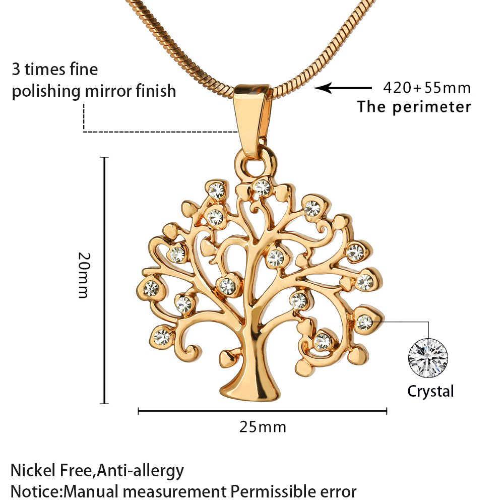 Wisior drzewo życia ze stali nierdzewnej Choker naszyjnik kobiety biżuteria róża kryształowa złoto kreatywne naszyjniki świąteczne prezenty