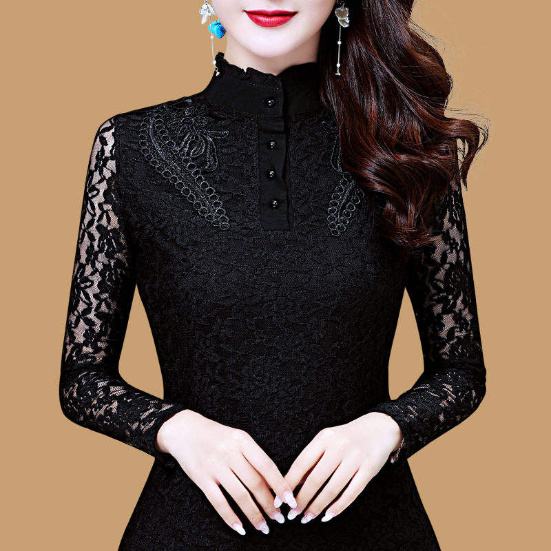 Women Spring Autumn Style Slim Lace Blouses Shirts Lady Casual Long Sleeve Turtleneck Flower Printed Lace Blusas Tops DD8199