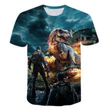 3D Printing Jurassic Dinosaur Boy Round Neck Short Sleeve T-shirt U.S. 2021 Summer Street Fashion Baby Kids Top
