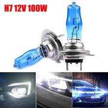 2 peças 100w h7 lâmpadas halógenas super branco vidro de quartzo 12v 4500k xenon azul escuro carro farol lâmpada auto