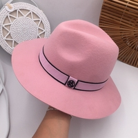 French light and luxurious hat lady autumn winter Korean version with a little pink top hat and high set woollen cloth jazz hat