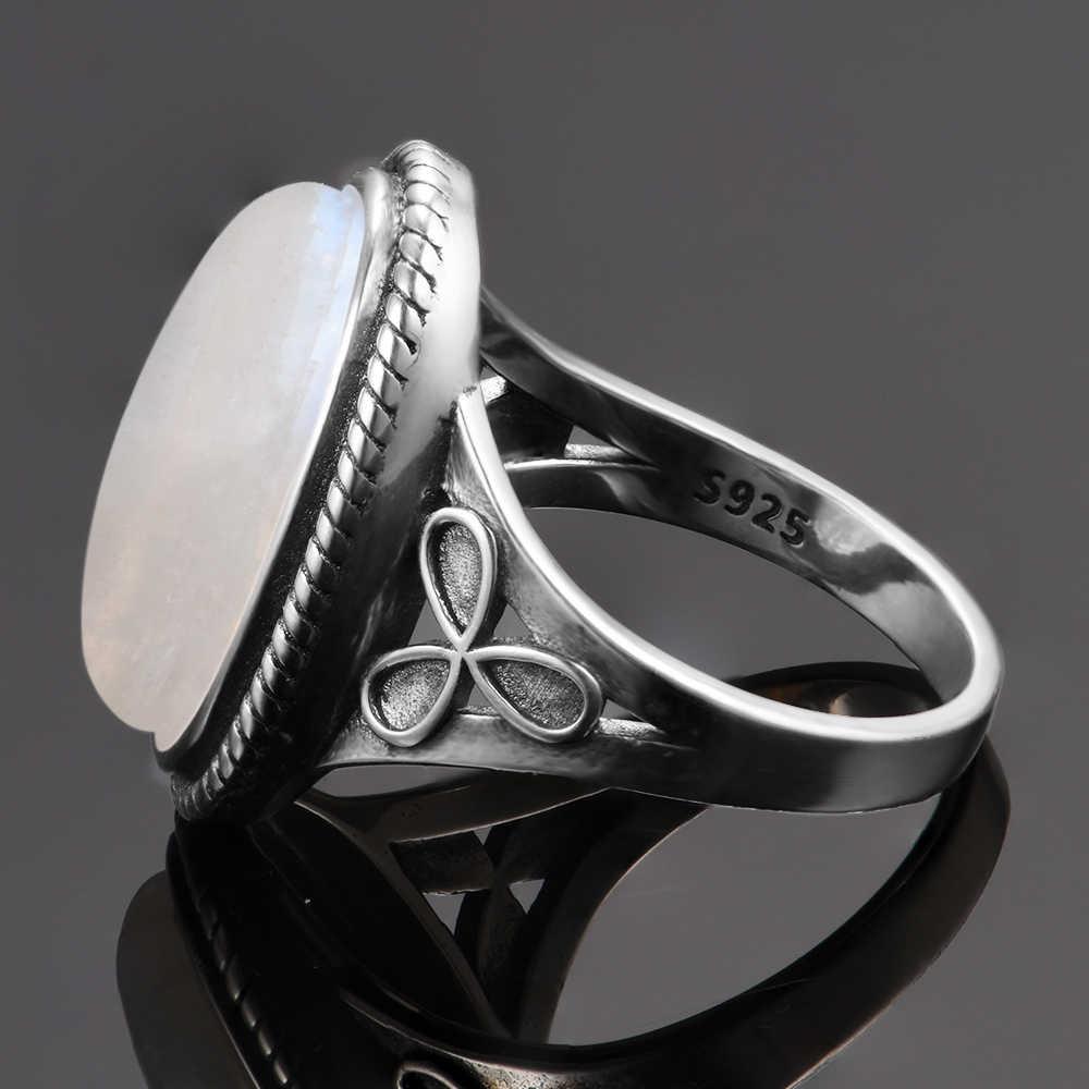 الحجر القمر الطبيعي خواتم للنساء الفضة 925 مجوهرات خمر خواتم الحفلات مع 11x17 مللي متر كبير البيضاوي الأحجار الكريمة هدايا بالجملة