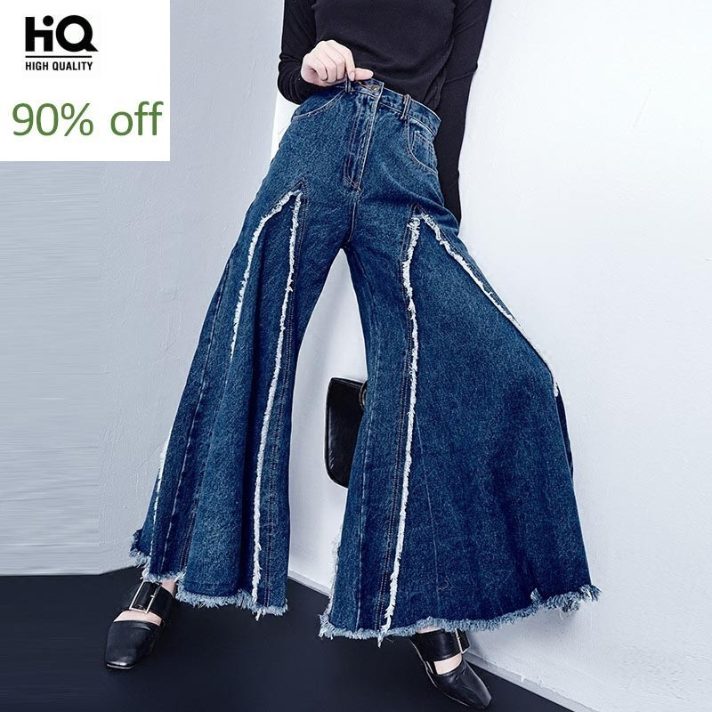 Women Denim Wide Leg Pants Female Korean High Waist Thin Cowboy Flash Student Tide Slacks Bellbottoms Jeans Fashion Big Flared