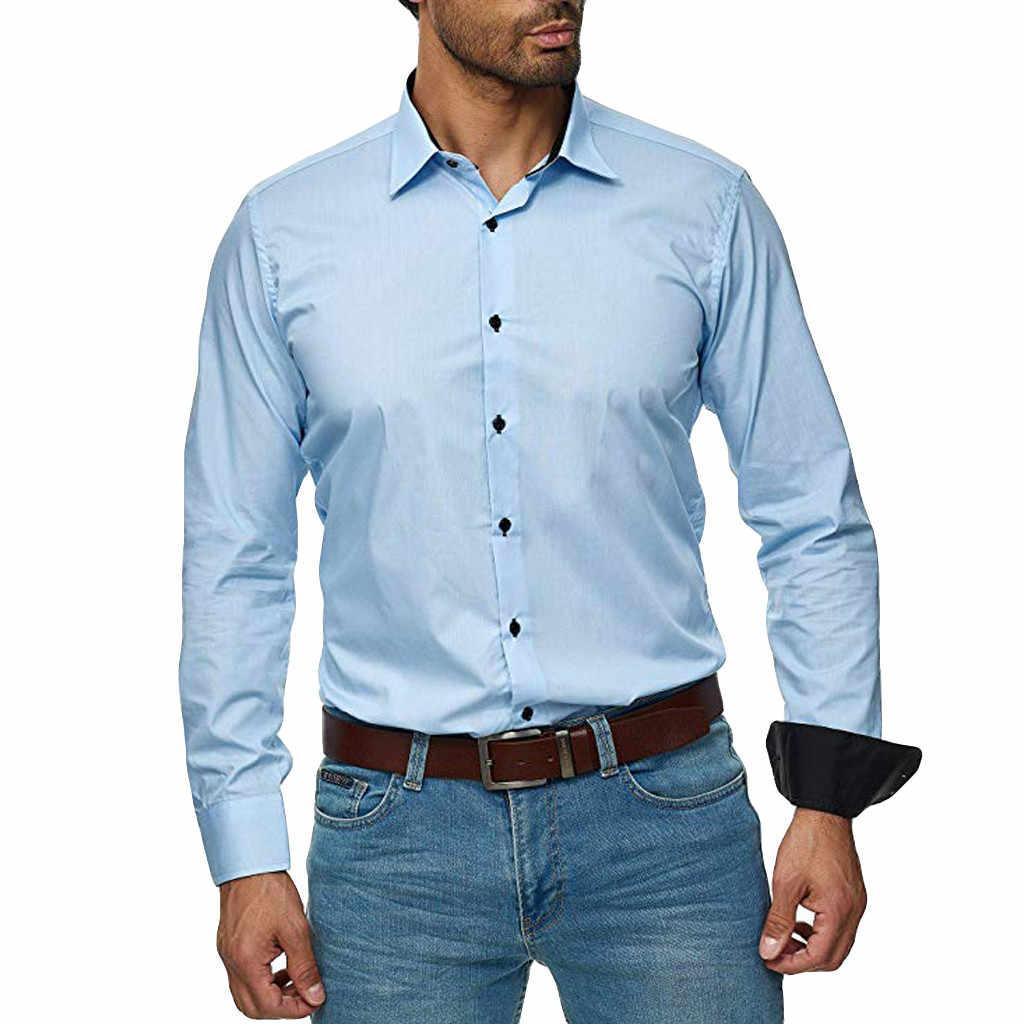 Womail قميص الرجال الخريف الأعمال الأوروبية الأمريكية قميص بأكمام طويلة زر 2019 الذكور الاجتماعية عادية لون نقي قمصان بلايز 820