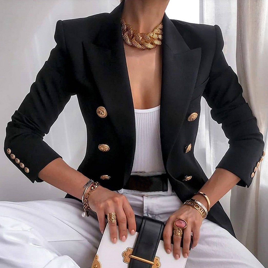 2020 New Fashion Blazer Women's Double-breasted Blazer Slim Fitted Jacket Office Dress
